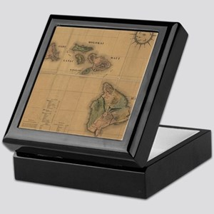 Vintage Map of Hawaii (1876) Keepsake Box